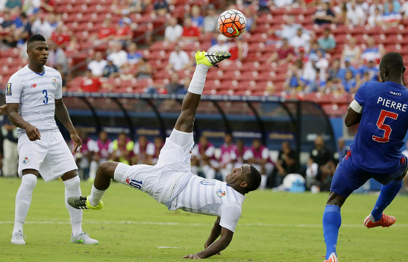 Luis Tejada of Panama takes a shot against Haiti during the CONCACAF Gold Cup soccer match in Frisco, Texas.