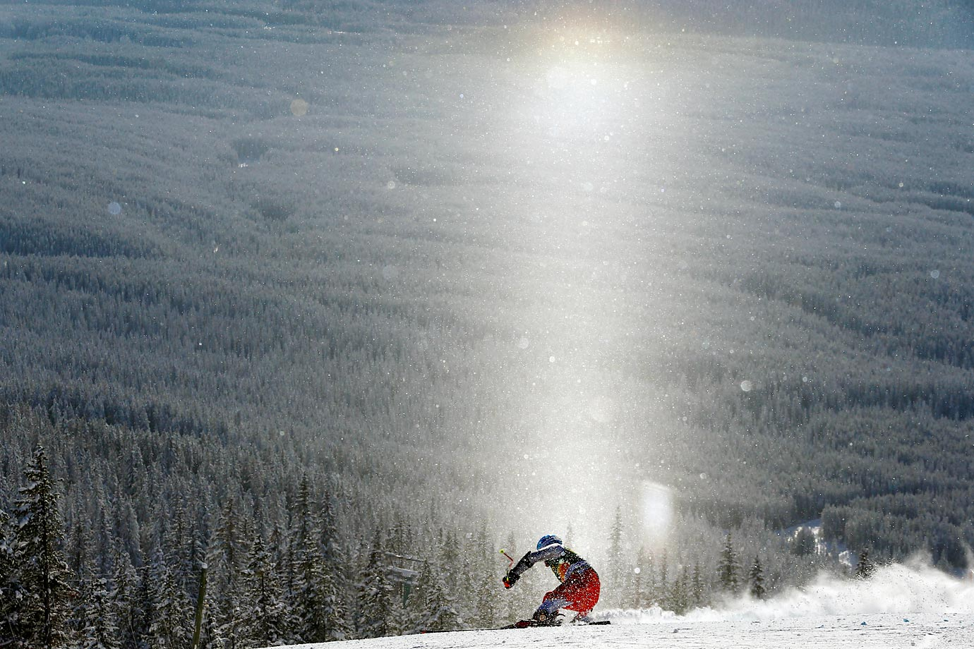 Maciej Bydlinski of Poland competes during the Audi FIS Alpine Ski World Cup Men's Super-G in Lake Louise, Canada.