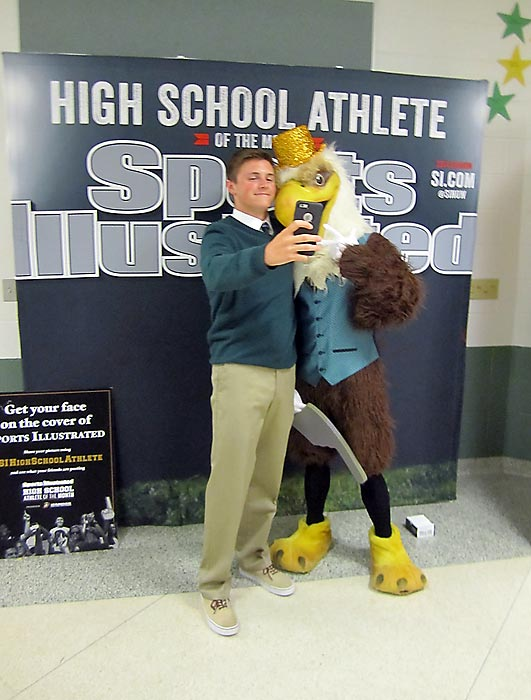 Selfies with Seneca High's Golden Eagle were in high demand.