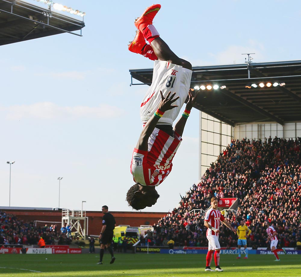 Mame Biram Diouf of Stoke City celebrates scoring the opening goal during the Barclays Premier League match between Stoke City and Crystal Palace in Stoke on Trent, England.