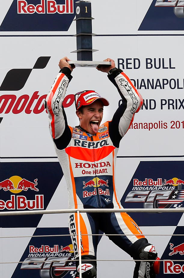 Marc Marquez celebrates his victory at the Indianapolis Red Bull MOTO Grand Prix.
