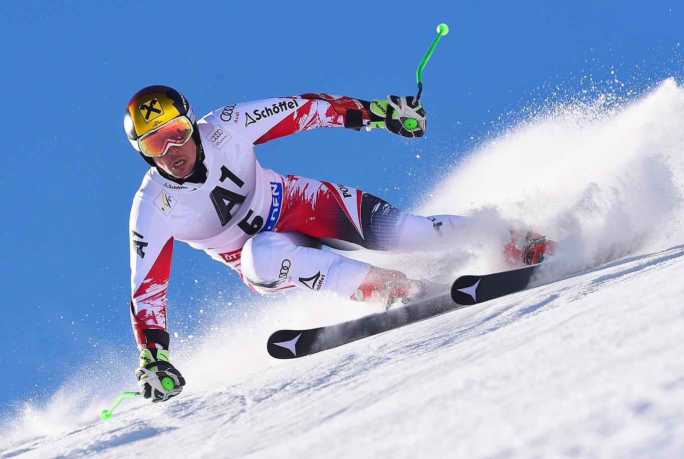 Marcel Hirscher of Austria competes in the giant slalom of the Audi FIS Alpine Ski World Cup.