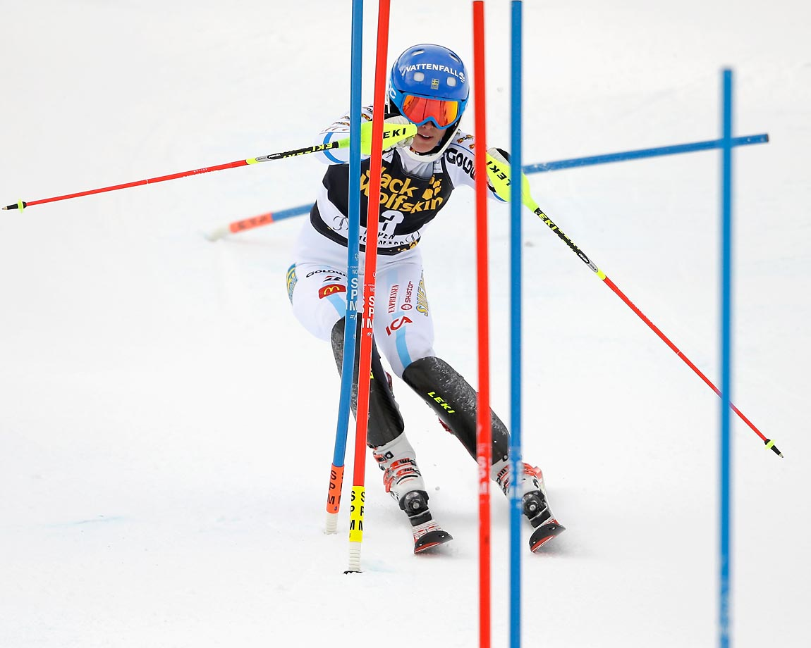 Maria Pietilae-Holmner of Sweden competes in the first run of the ladies' slalom during the 2014 Audi FIS Ski World Cup. Pietilae-Holmner finished the first run in fourth place.