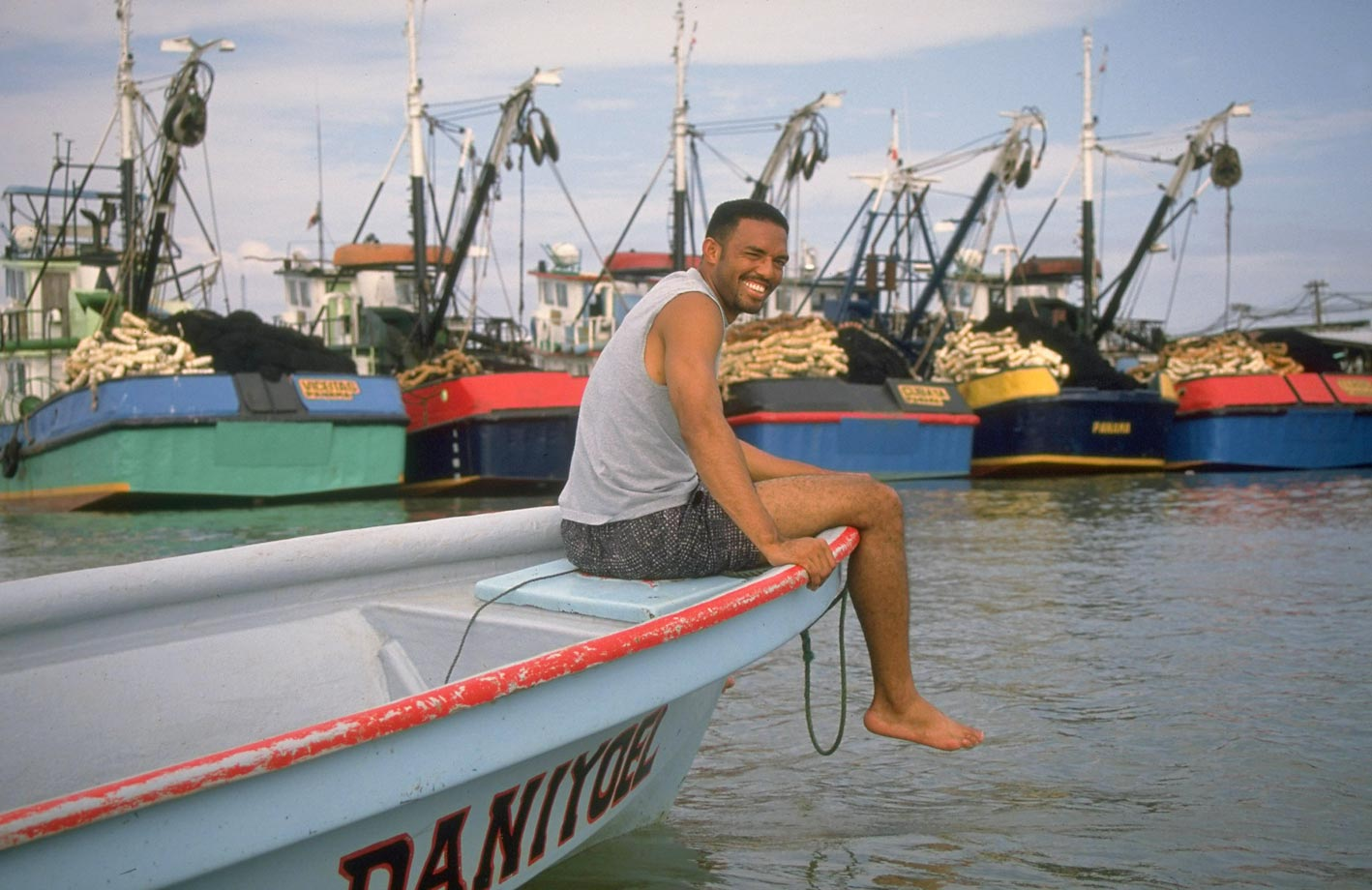 Rivera sits alone on the boat Daniyoel in Panama in February 1997. Rivera was preparing for his first season as Yankees closer.