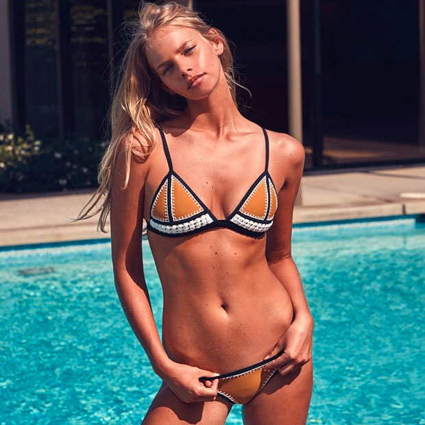 Heating Up: The Farrah Crochet + Neoprene Bikini @marloeshorst wears 'Brown Sugar' From the NEW Collection, Online Now