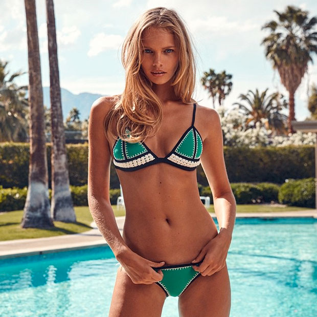NEW: The Farrah Crochet + Neoprene Bikini Triangl's Latest Collection, shot on @marloeshorst On Location | Frank Sinatra's House | Palm Springs Shop the 3 New Colors, Online Now