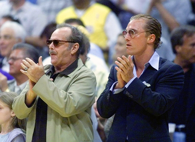 Jack Nicholson and Matthew McConaughey watch and cheer the Los Angeles Lakers as they play the Indiana Pacers in Game 2 of the 2000 NBA Finals.