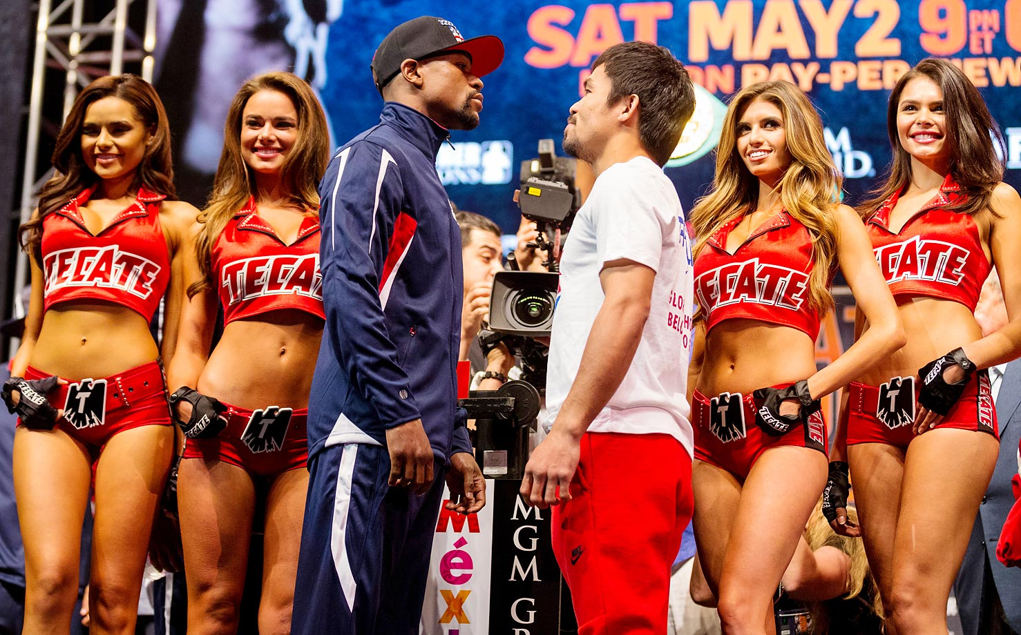 The official weigh-in for Mayweather and Pacquiao.