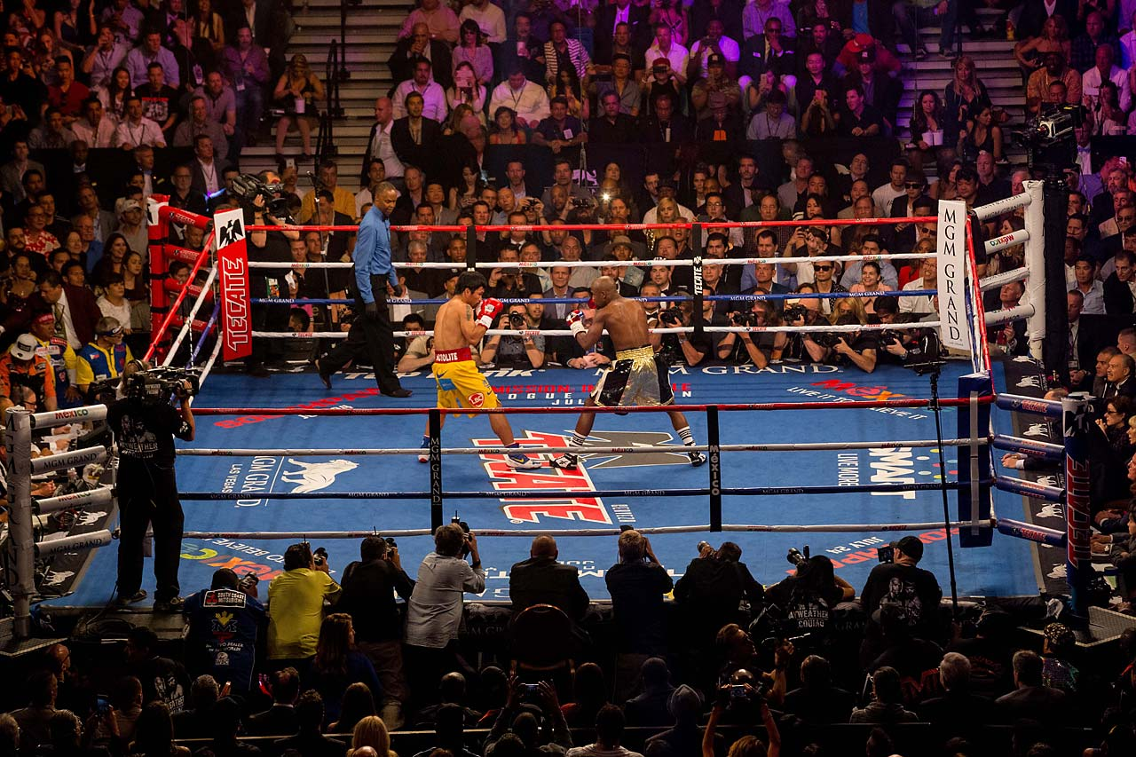Pacquiao chased Mayweather around the ring most of the night, but was never able to land a sustained volume of punches. (AP)