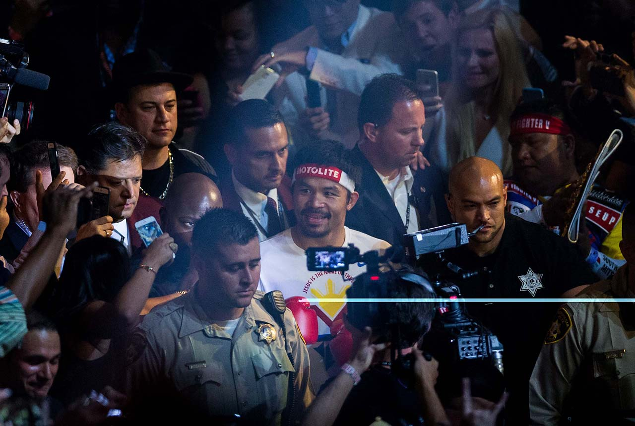 Pacquiao was escorted into the ring by Jimmy Kimmel.