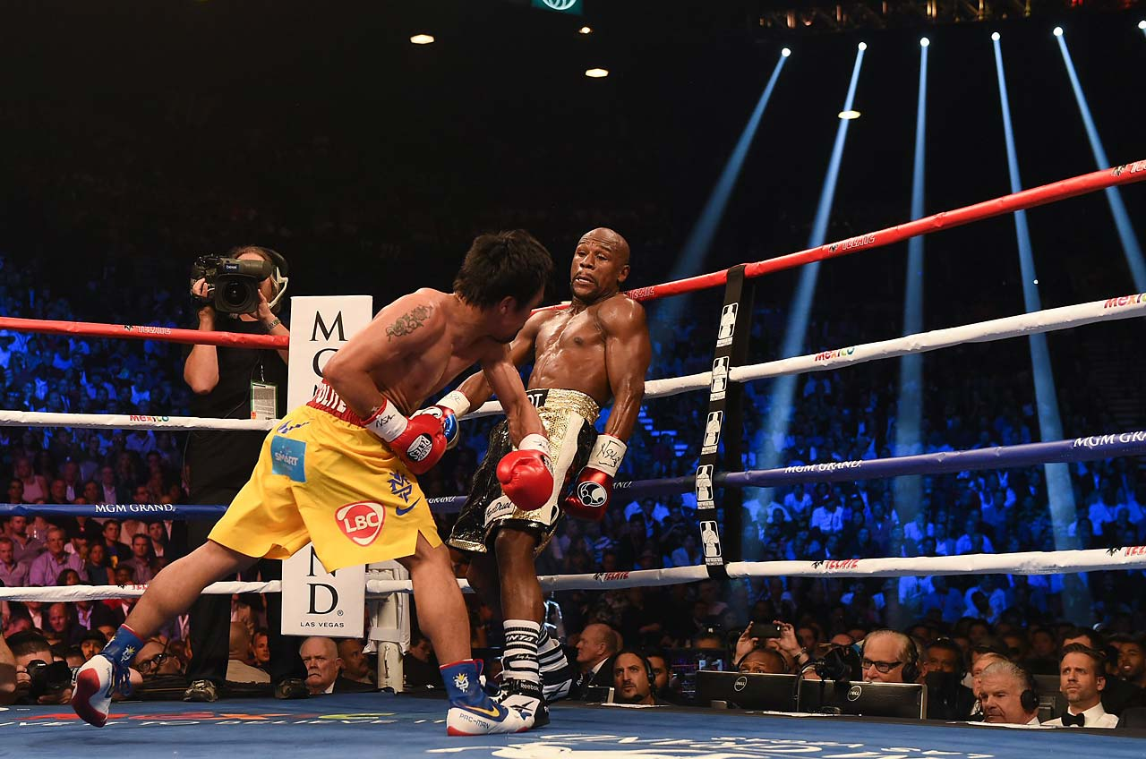 """He's a very awkward fighter, so I had to take my time and watch him close,"" Mayweather said. (AP)"
