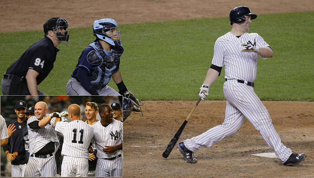 Brian McCann hit a three-run homer in the 12th inning on July 3 to give the New York Yankees a 7-5 walk-off victory over the Tampa Bay Rays.