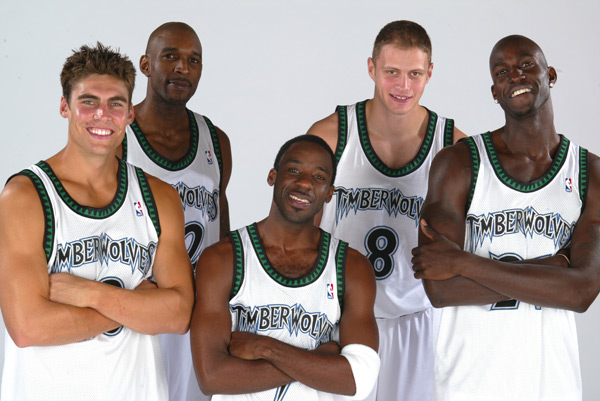 Wally Szczerbiak, Joe Smith, Terrell Brandon, Radoslav Nesterovic and Kevin Garnett (2002) :: Getty Images
