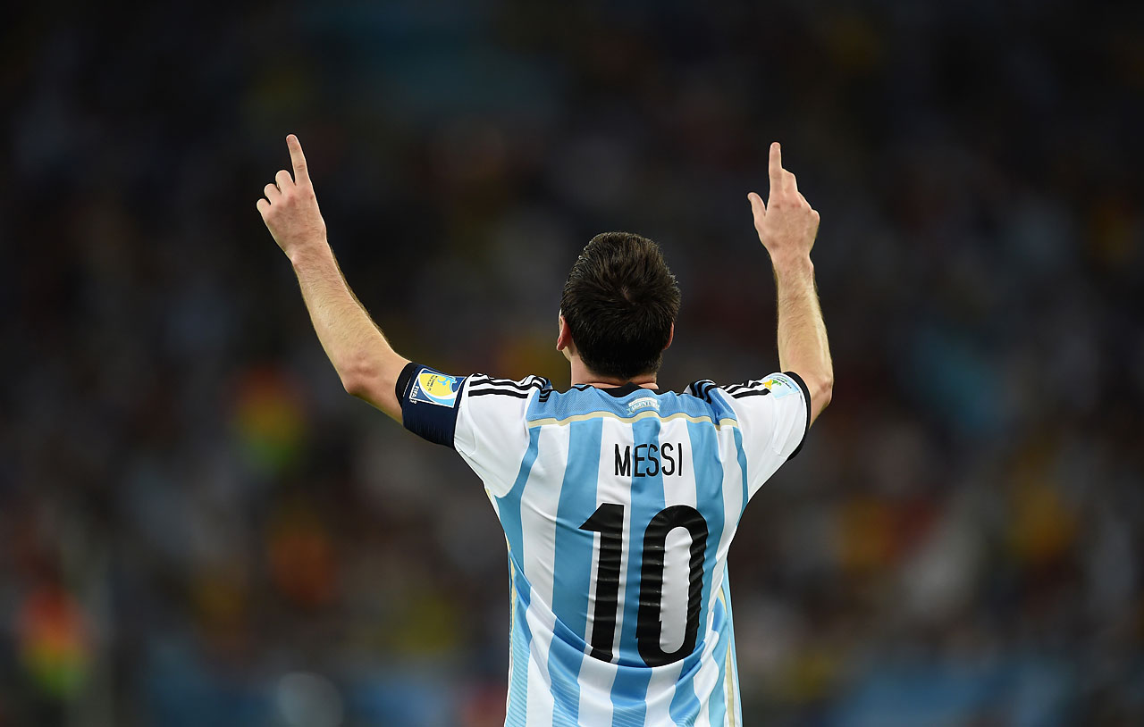 Lionel Messi of Argentina celebrates after scoring the winning goal against Bosnia-Herzegovina in Rio de Janeiro.