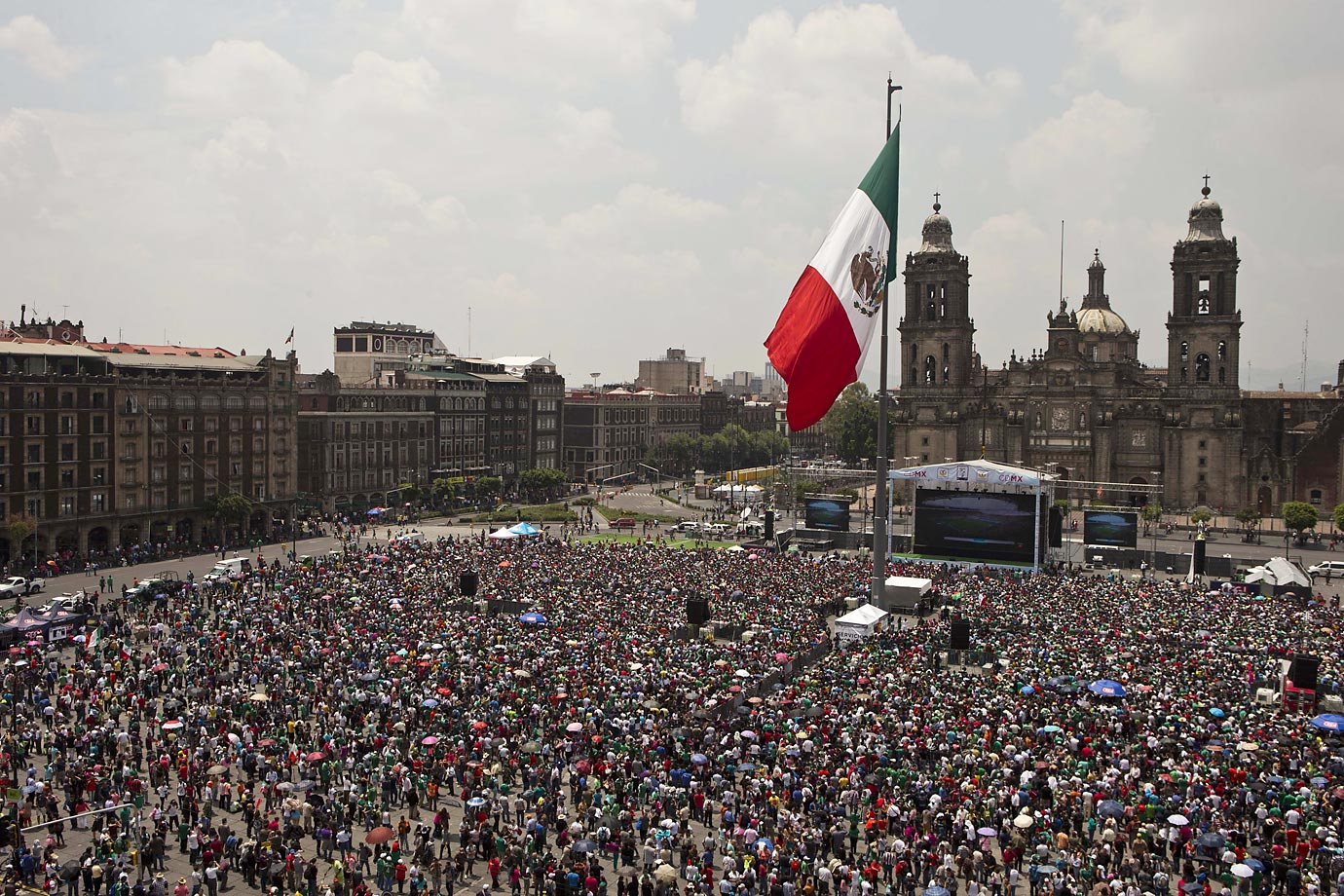 Mexico soccer fans in Mexico City's main square, the Zocalo.