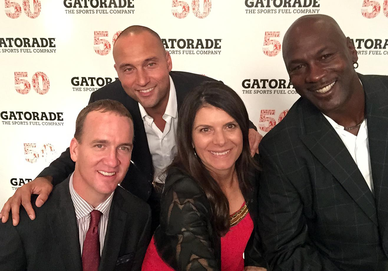 Mia Hamm took this star-studded selfie of herself, Peyton Manning, Derek Jeter and Michael Jordan at the Gatorade 50th Anniversary Dinner at The Sanctuary Resort Spa in Scottsdale, Ariz., on Super Bowl weekend.