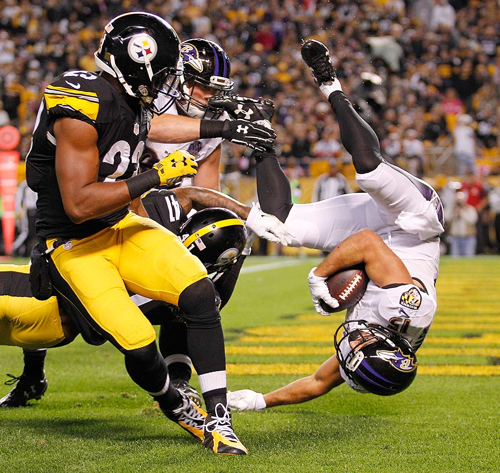 Michael Campanaro of the Baltimore Ravens scores a touchdown against the Pittsburgh Steelers.
