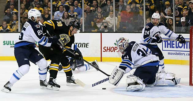 While the bruised Bruins try to stay on track, the Jets' hopes may rest with backup goalie Michael Hutchinson.