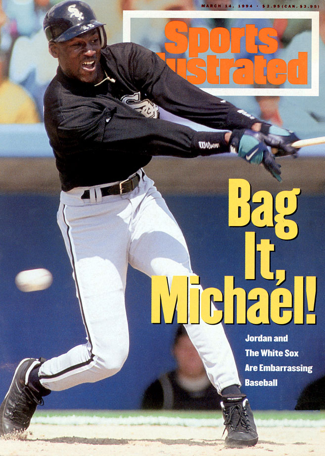"In taking stock of Jordan's performance early in spring training, SI's Steve Wulf wrote, ""Michael Jordan has no more business patrolling right field in Comiskey Park than Minnie Minoso has bringing the ball upcourt for the Chicago Bulls."""
