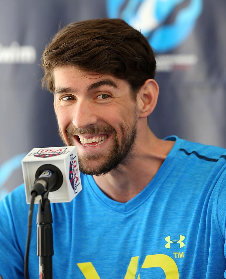Michael Phelps at a press conference before the Arena Pro Swim Series in Mesa, Ariz.