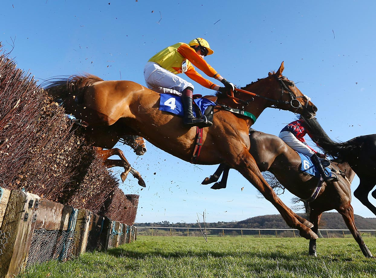 Midnight Lira ridden by James Best on his way to winning the South West Racing Club handicap steeple chase at Taunton Racecourse in Taunton, England.