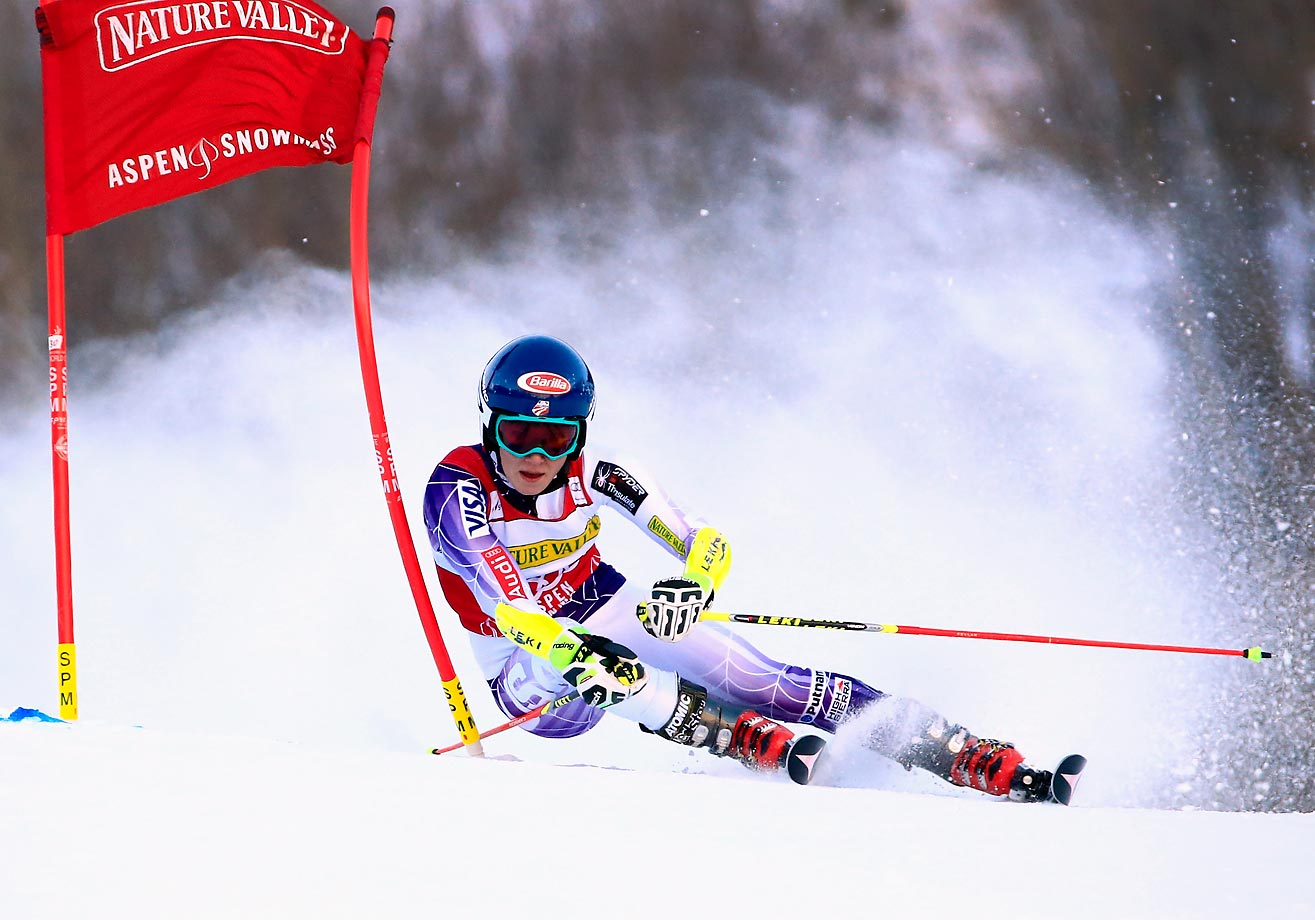 Mikaela Shiffrin of the United States skis to sixth place in the giant slalom during the 2014 Audi FIS Ski World Cup.
