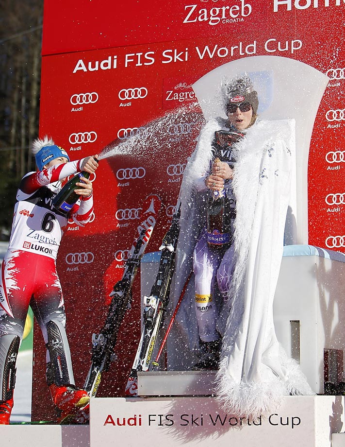 Mikaela Shiffrin of the U.S. celebrates first place at the Audi FIS Alpine Ski World Cup.