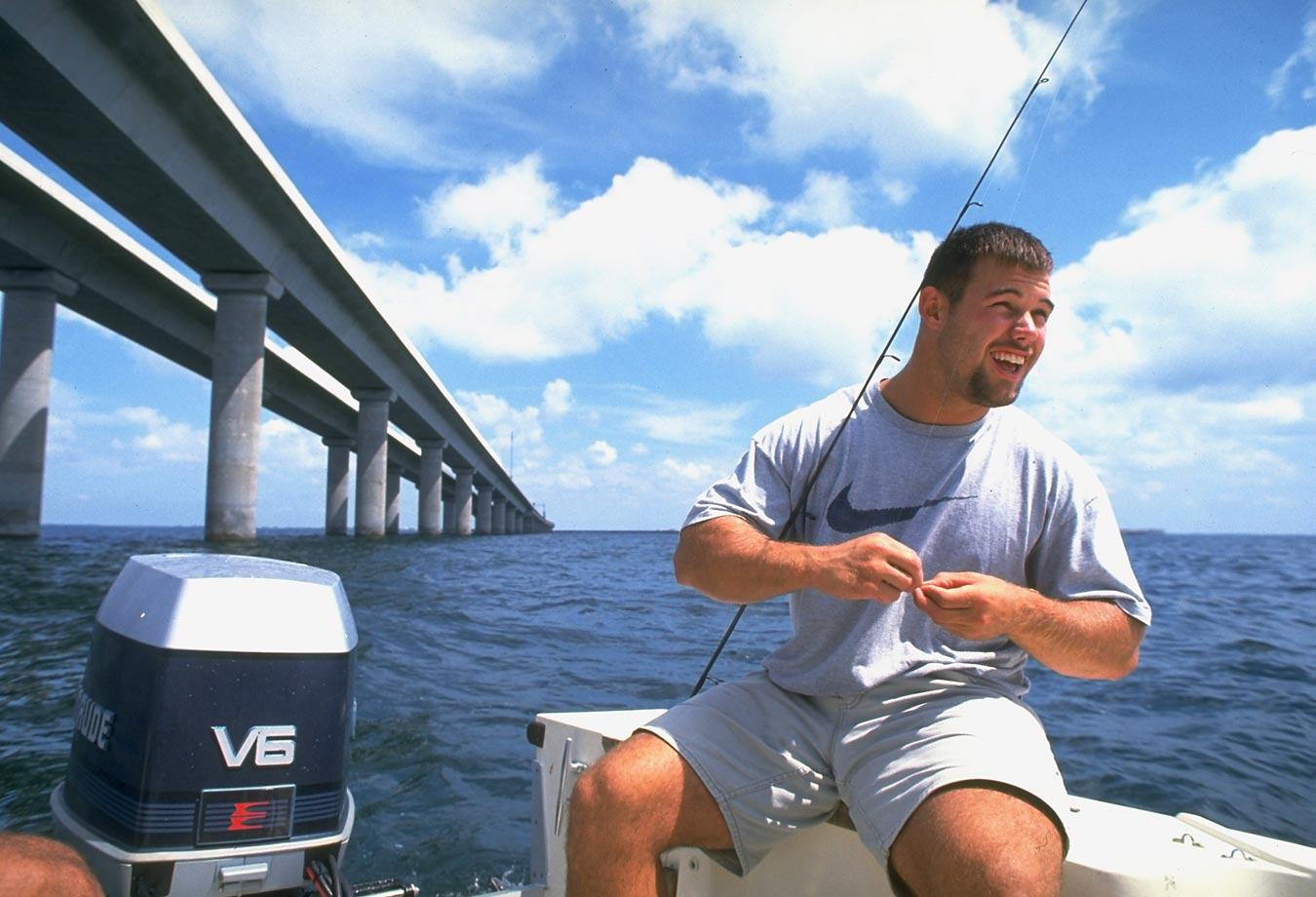 Mike Alstott of the Tampa Bay Buccaneers baiting line in 1997.