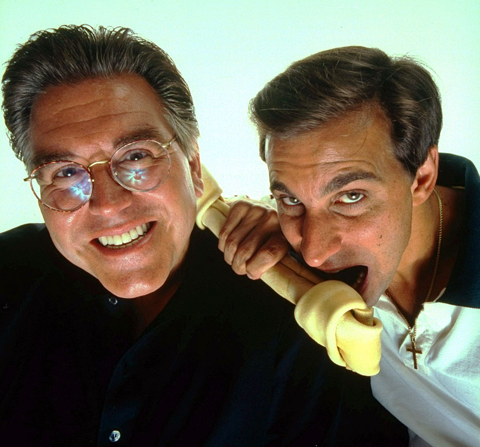 "Former WFAN radio personality Chris ""Mad Dog"" Russo with partner Mike Francesa. The two hosted a radio show together in New York City for two decades."