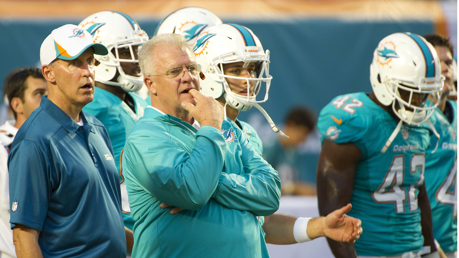 Sherman was Joe Philbin's offensive coordinator with the Dolphins in 2012 and '13. (Photo: Doug Murray/Icon SMI)