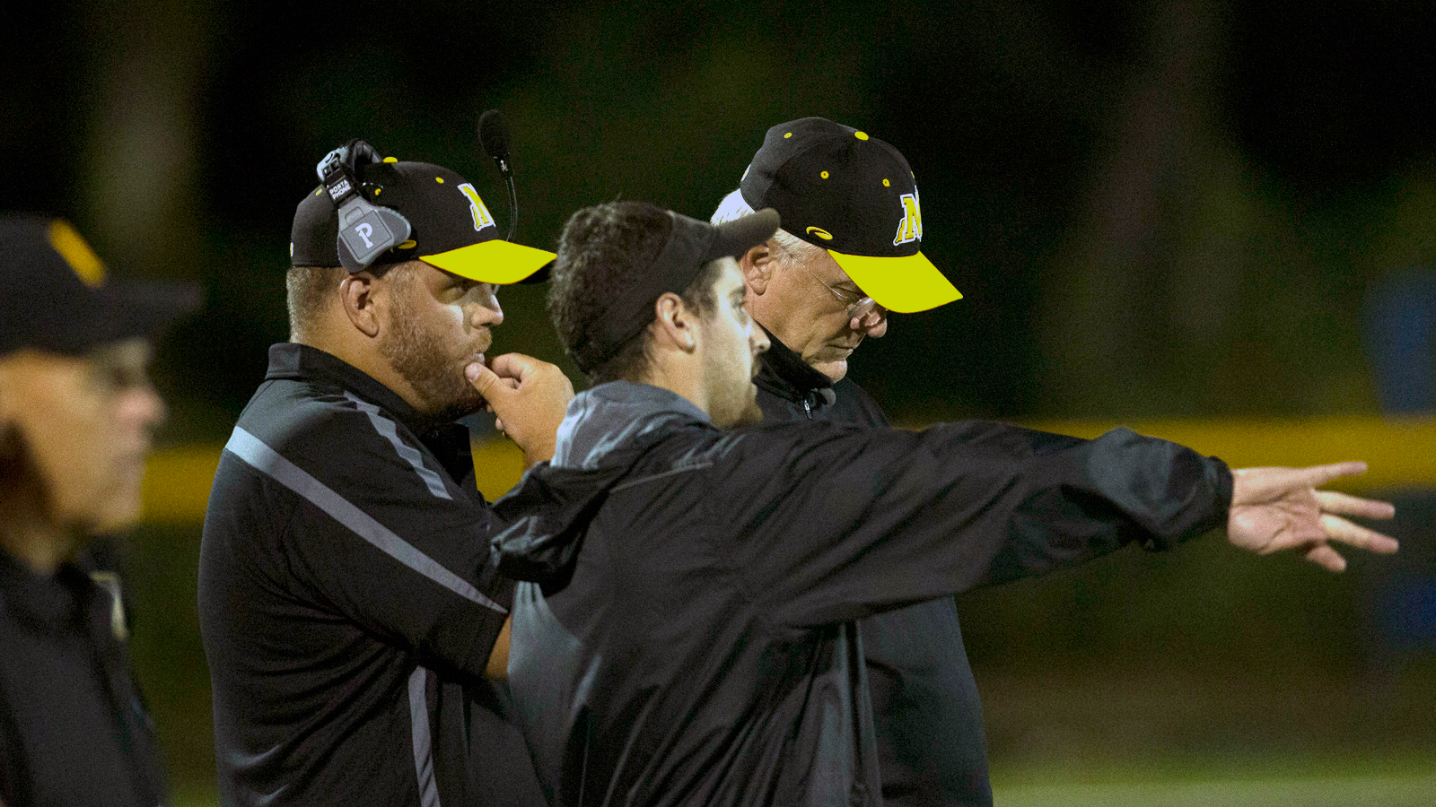 Mike Sherman and the Nauset High coaches. (Photo: Bill Johnson for The MMQB)