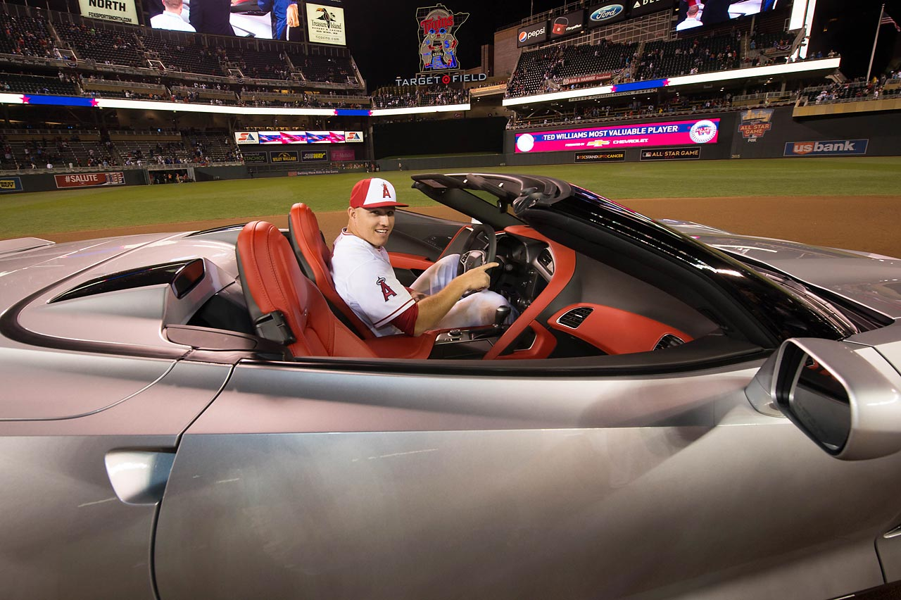 Mike Trout sits in his 2015 Chevrolet Corvette Stingray after winning the MVP award at the 85th MLB All-Star Game.