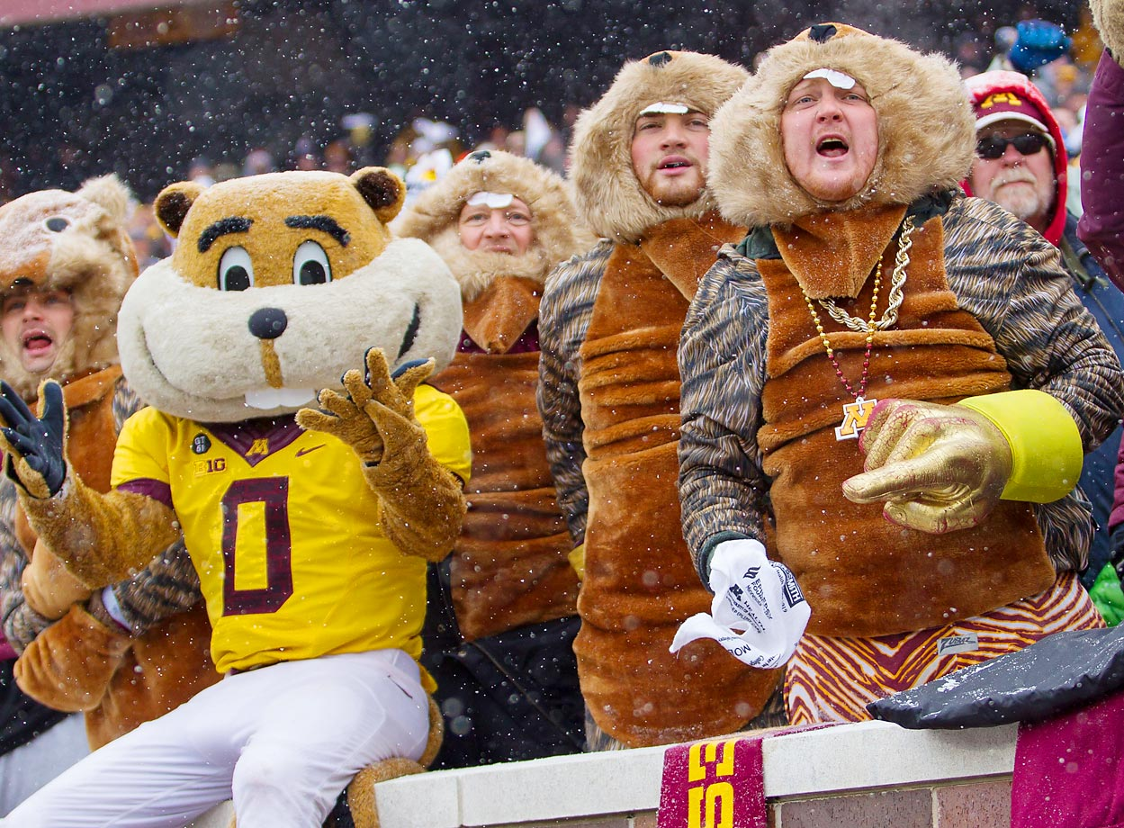 Goldy Gopher and Minnesota Gophers fans cheer at the game against Ohio State.  The Buckeyes beat the Gophers 31-24.