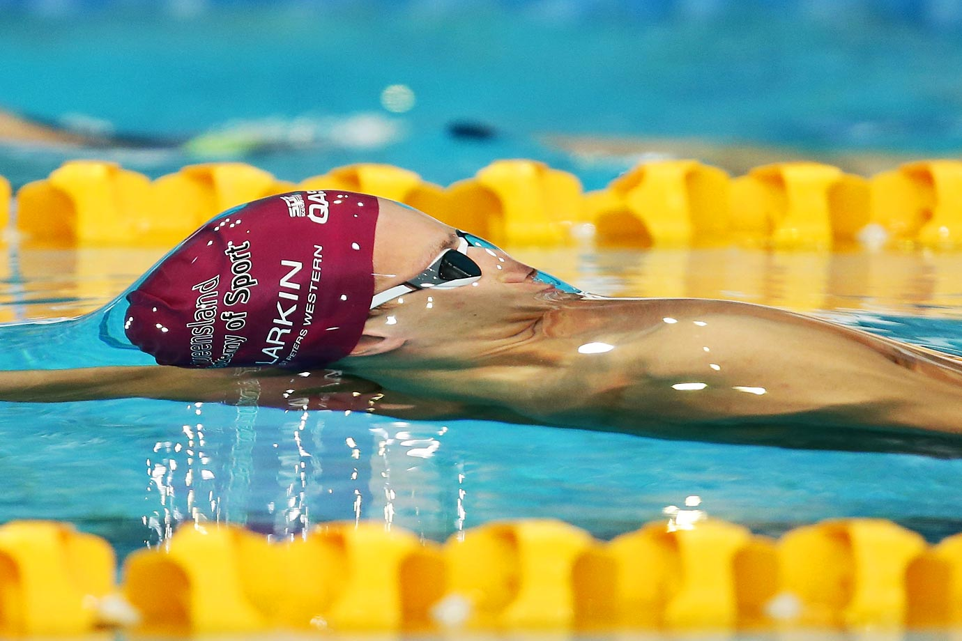 Mitch Larkin forms a bubble during the 100-meter backstroke at the Australian National Swimming Championships.