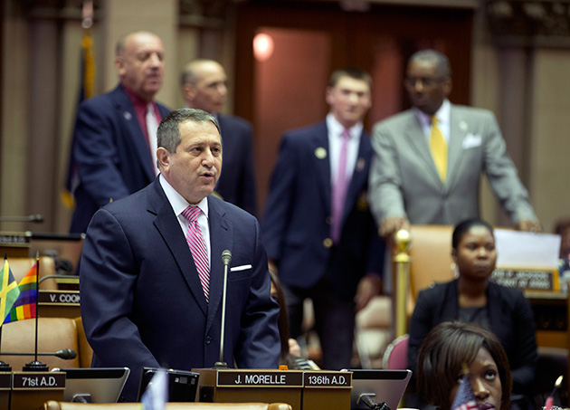 Assembly Majority Leader Joseph Morelle speaks on his mixed martial arts bill in the Assembly Chamber at the Capitol on Tuesday, March 22, 2016, in Albany, NY.