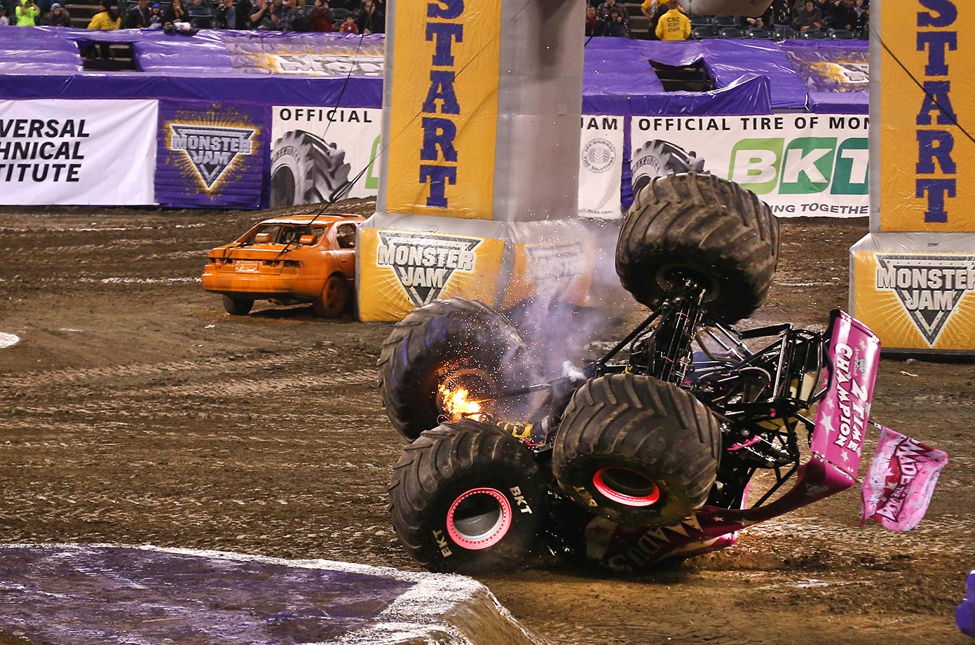 Madusa finished the night after an early crash.