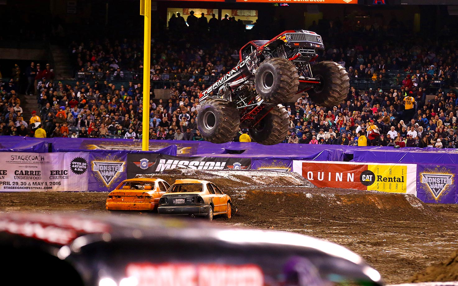 Monster Truck 'Terminator' pleased the crowd with this jump during Monster Jam competition.