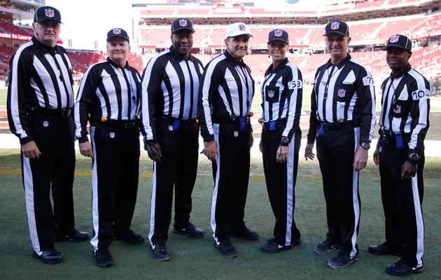 "Pete Morelli's crew, just before the Cardinals-49ers game that got them ""downgraded."""