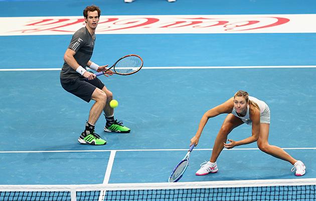 Murray and Sharapova in action against Kristina Mladenovic and Nenad Zimonjic.
