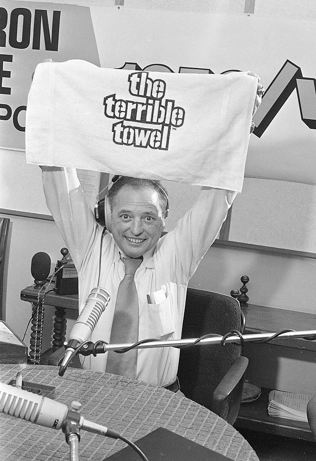 The famous voice of the Pittsburgh Steelers and a sportscaster who helped the Terrible Towel become famous, Myron Cope had an asteroid named in his honor in 2008 --  7835 Myroncope.
