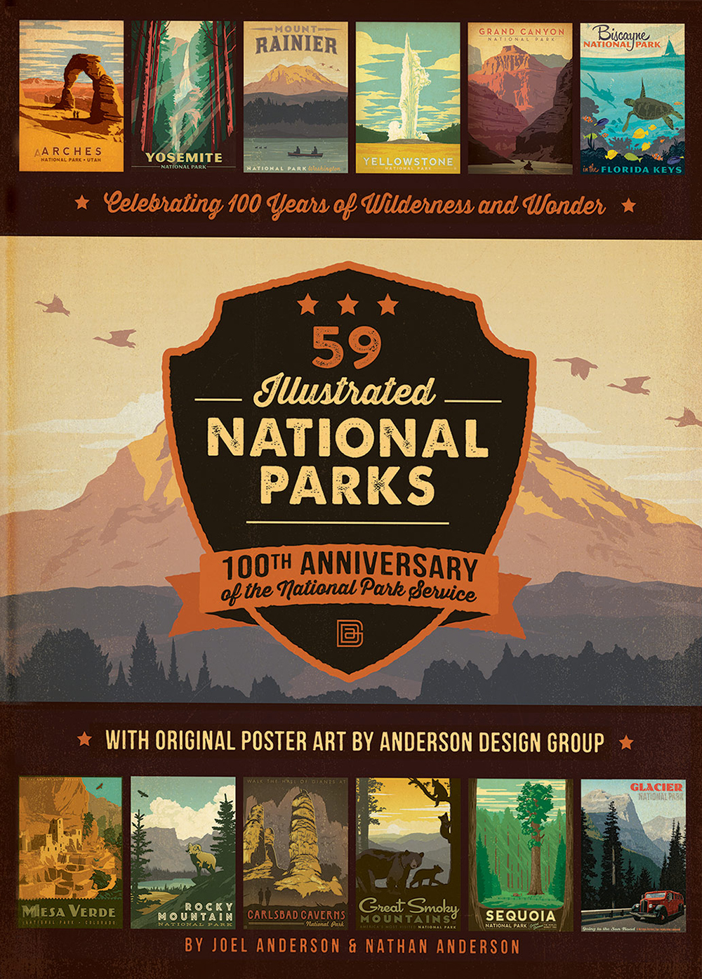 To mark the 100th anniversary of the National Park Service, father and son team Joel Anderson and Nathan Anderson collaborated on a book of travel-poster art created by the Anderson Design Group that celebrates the 59 sites designated as National Parks. Here's a sample of those posters to get you excited about the natural beauty found all over America.