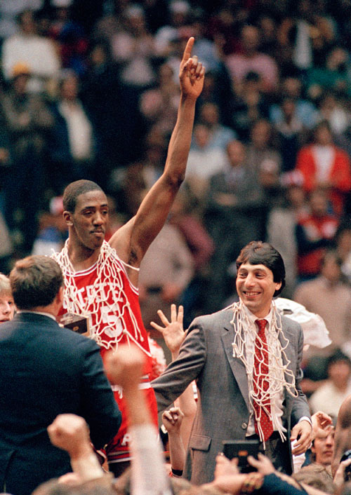 1983: No. 6 N.C. State defeats No. 1 Houston 54-52 in the national championship game.