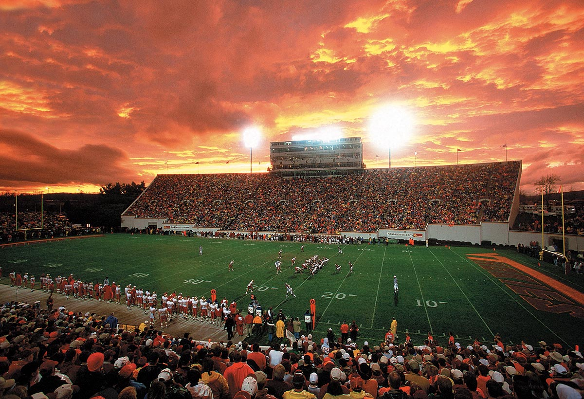 Blacksburg, Va., Nov. 26, 1999 | A scenic view of Lane Stadium during a late November football game between the Virginia Tech Hokies and Boston College Eagles.