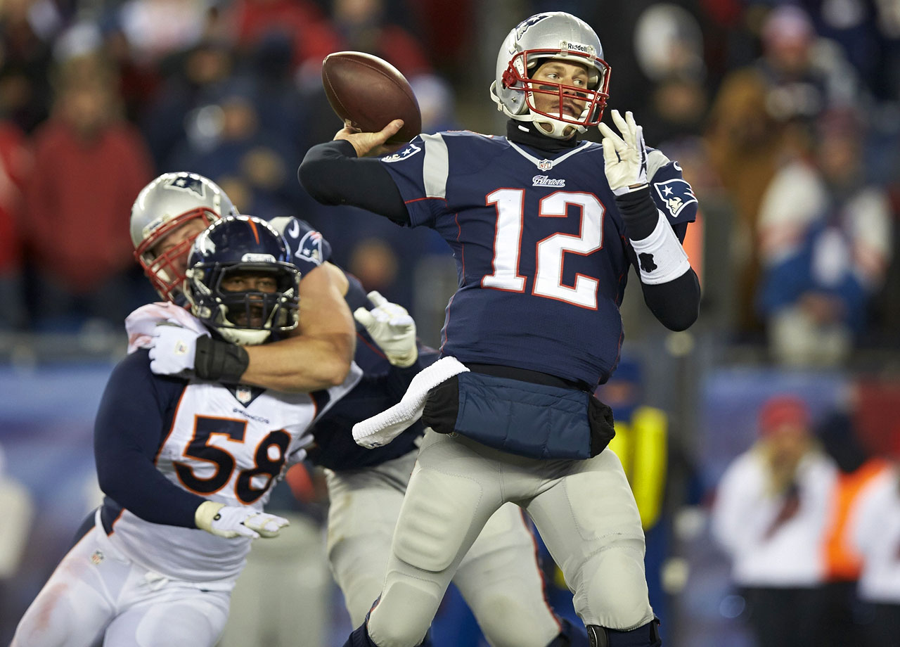 Tom Brady threw three touchdown passes into the teeth of a 22-mph wind in the second half as the Patriots, down 24-0 at the half, scored 31 points in a row. Peyton Manning's touchdown pass late in the fourth quarter forced overtime, where the Broncos' Tony Carter ran into Ryan Allen's punt after it bounced, Nate Ebner recovered for the Patriots at the Broncos 13-yard line and Stephen Gostkowski kicked a 31-yard field goal with 1:56 left in OT to give New England a 34-31 win.
