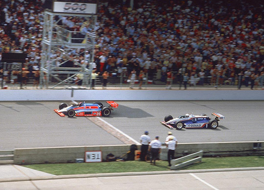 Gordon Johncock (20) edges Rick Mears (1) at finish line to win the 1982 Indianapolis 500, at the time the closest finish to date in the race.