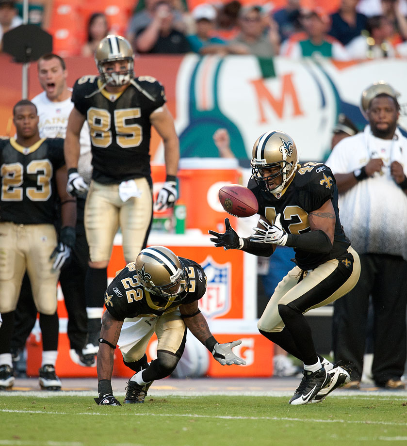 The Saints eventually won the Super Bowl behind its high-powered offense, but its defense helped key its come-from-behind win. After Miami built a 24-3 lead, Darren Sharper and Tracy Porter each returned interceptions for touchdowns in a 46-34 win. The Saints had also overcome 21-point deficits in 1987 and 1969.