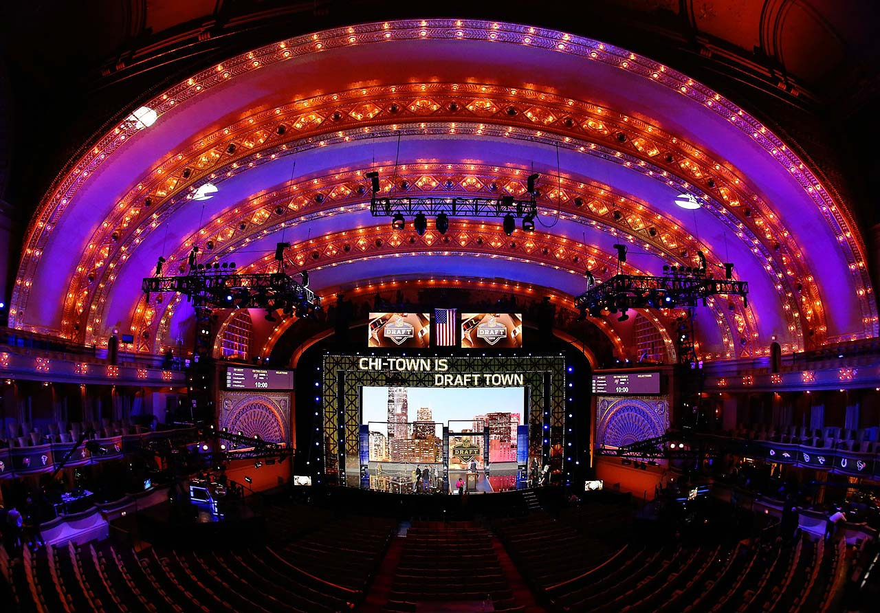 The stage prior to the start of the first round of the 2015 NFL Draft at the Auditorium Theatre of Roosevelt University in Chicago.