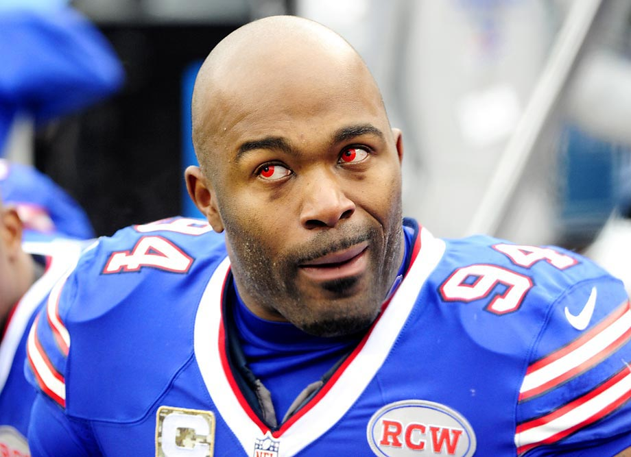 Mario Williams of the Buffalo Bills wore red contact lenses during a game against Kansas City.