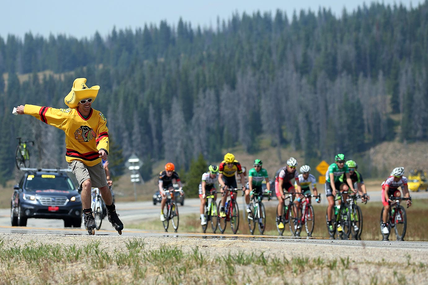 Nick Fettkether skates along with the breakaway during stage two of the 2015 USA Pro Challenge from Steamboat Springs to Arapahoe Basin.
