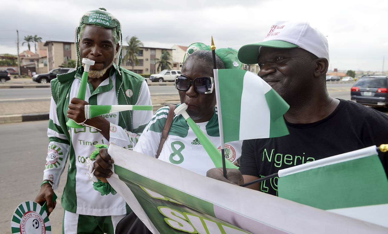 Fans in Lagos State, Nigeria prepare for Nigeria's first game of the tournament against Iran.